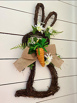 18-inch Twig Bunny Wreath Door Hanging with Tulips and Carrot, , rollover