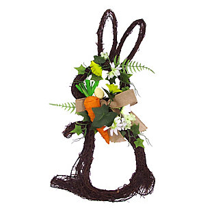 18-inch Twig Bunny Wreath Door Hanging with Tulips and Carrot, , large