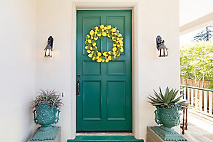 22-inch Faux Lemon Wreath with Leaves, , rollover