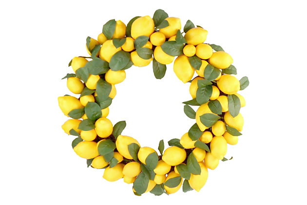 22-inch Faux Lemon Wreath with Leaves, , large
