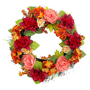 24-inch Spring Wreath Door Hanging with Dahlias and Peonies, , large