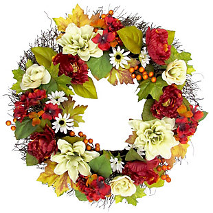 24-inch Spring Wreath Door Hanging with Peony, Hydrangea, and Dahlia Blooms, , large