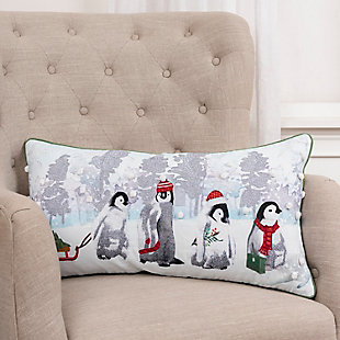 Penguins Holiday Throw Pillow, , rollover