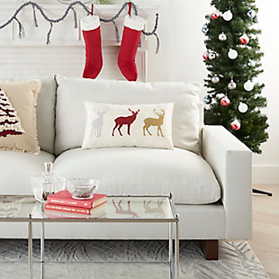 Mina Victory Holiday Reindeer Pillow, , rollover