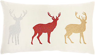 Mina Victory Holiday Reindeer Pillow, , large