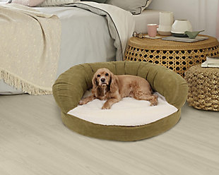 Ortho Small Sleeper Bolster Pet Bed, Sage, rollover