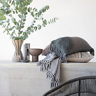 Creative Co-Op Bloomingville Cotton Blend Tufted Tasseled Lumbar Pillow, , rollover