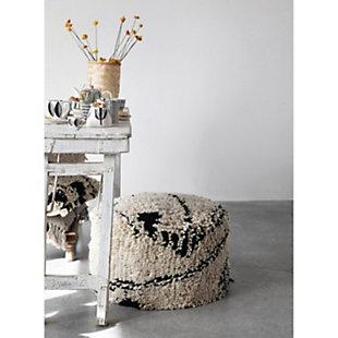 Creative Co-Op Woven Wool Shag Pouf, , rollover