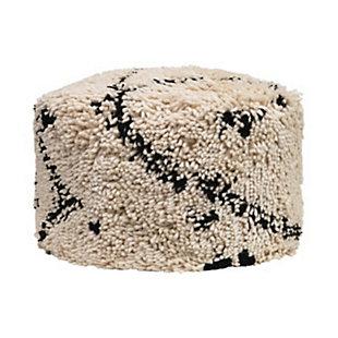 Creative Co-Op Woven Wool Shag Pouf, , large