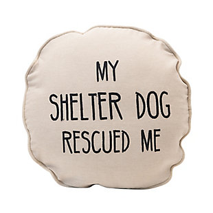 Creative Co-Op My Shelter Dog Rescued Me Cotton Pillow, , large