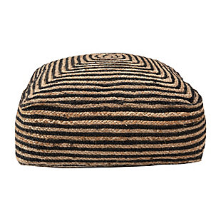 Creative Co-Op Striped Braided Jute Cotton Blend Pouf, , large