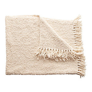 Creative Co-Op Cotton Blend Boucle Fringed Throw, , large