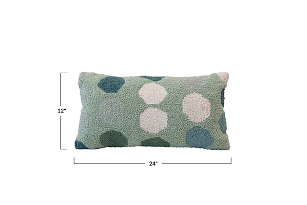 Creative Co-Op Dots Woven Cotton Lumbar Pillow, , large