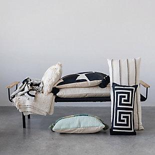 Creative Co-Op Striped Woven Cotton Blend Lumbar Pillow, , rollover