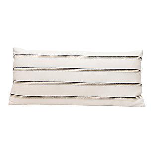 Creative Co-Op Striped Woven Cotton Blend Lumbar Pillow, , large