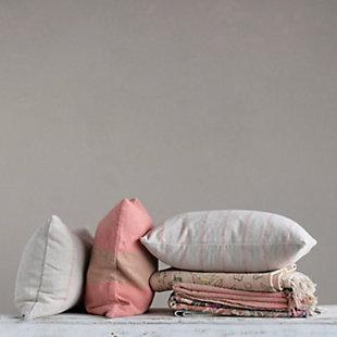 Creative Co-Op Striped Woven Recycled Cotton Blend Lumbar Pillow, , rollover