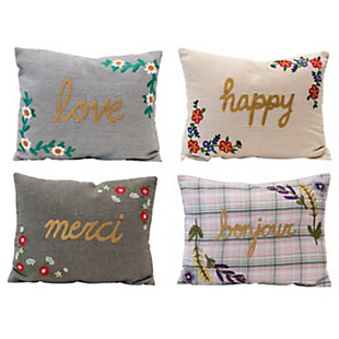 Creative Co-Op Floral Cotton Embroidered Lumbar Pillow, , large