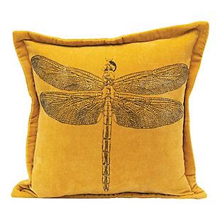 Creative Co-Op Dragonfly Cotton Velvet Pillow, , large