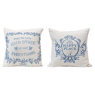 "Creative Co-Op Embroidered 18"" Square Linen Blend Pillow, , large"