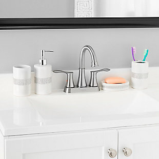 Home Basics 4 Piece Ceramic Luxury Bath Accessory Set with Stunning Sequin Accents, White, , rollover
