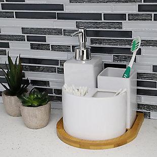 Home Basics Serene Scandinavian 4 Piece Ceramic Bath Accessory Set with Bamboo Tray, White, , rollover