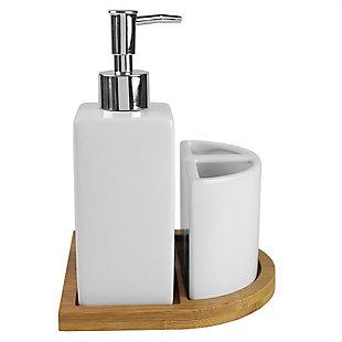 Home Basics Serene Scandinavian 4 Piece Ceramic Bath Accessory Set with Bamboo Tray, White, , large