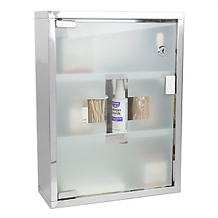 Home Basics 3 Shelf Frosted Glass Surface Mount Medicine Cabinet with Keys, Silver, , large