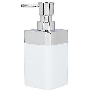Home Basics Skylar 10 oz. ABS Plastic Soap Dispenser, White, White, large