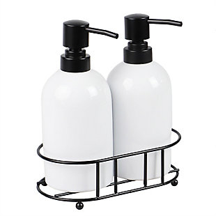 Home Basics 2 Piece Ceramic Soap Dispenser Set with Metal Caddy, White, , large