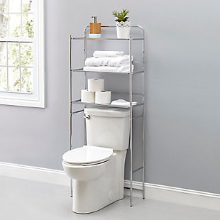 Home Basics 3 Tier  Steel Space Saver Over the Toilet Bathroom Shelf with Open Shelving, Chrome, , rollover