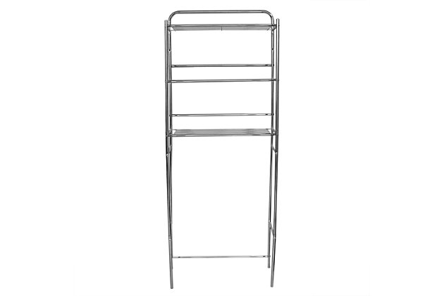 Home Basics 3 Tier  Steel Space Saver Over the Toilet Bathroom Shelf with Open Shelving, Chrome, , large
