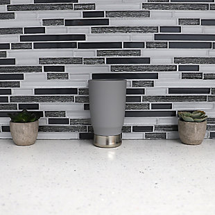 Home Basics Rubberized Plastic Tumbler with Steel Base, Gray, , rollover