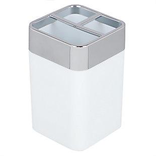 Home Basics Skylar ABS Plastic Toothbrush Holder, White, White, large