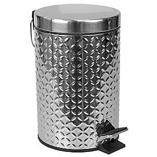 Home Basics Embossed Stainless Steel  3 Lt  Waste Bin, Silver, , large