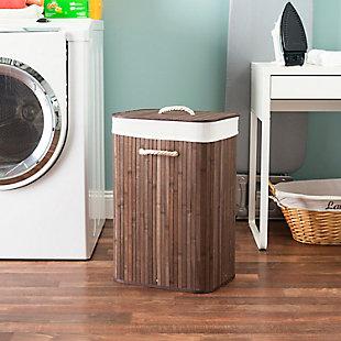 Home Basics Rectangular Bamboo Hamper, Brown, , rollover