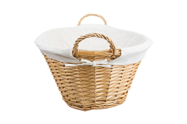 Home Basics Wicker Laundry Basket with Removeable Liner, Natural, , large