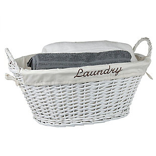 Home Basics Laundry Wicker Basket with Removable Liner, White, , large