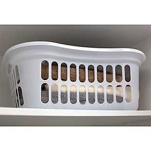 Home Basics Curved Hip Holding Large Capacity Lightweight Plastic Laundry Basket with Easy Grab Handles, White, , rollover