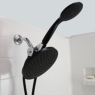 Home Basics Dual Shower Massager with Rainfall Shower Head, Black, , rollover
