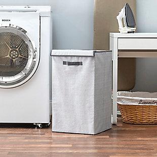 Home Basics Herringbone Non-woven Laundry Hamper with Velcro Closure, Gray, , rollover