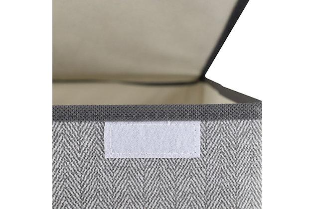 Home Basics Herringbone Non-woven Laundry Hamper with Velcro Closure, Gray, , large