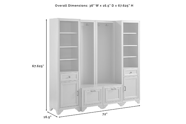 Crosley Tara  4-Piece Entryway Set, Distressed White, large