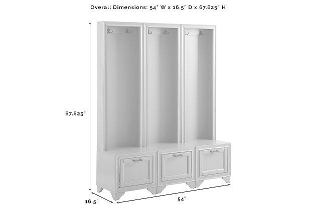 Crosley Tara 3-Piece Entryway Set, Distressed White, large