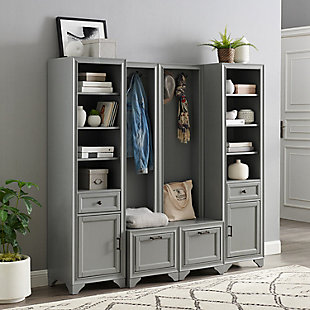 Crosley Tara 4-Piece Entryway Set, Distressed Gray, rollover