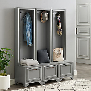 Crosley Tara 3-Piece Entryway Set, Distressed Gray, rollover