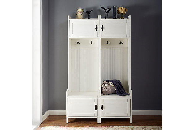 Crosley Fremont 2-Piece Entryway Set, Distressed White, large