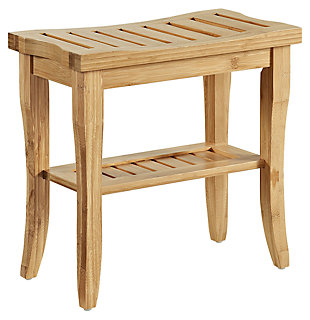 Linon Bracken Bamboo Stool, , large
