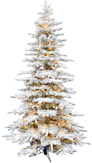 Fraser Hill 10-Ft. Flocked Mountain Pine Christmas Tree with Smart String Lighting, , large
