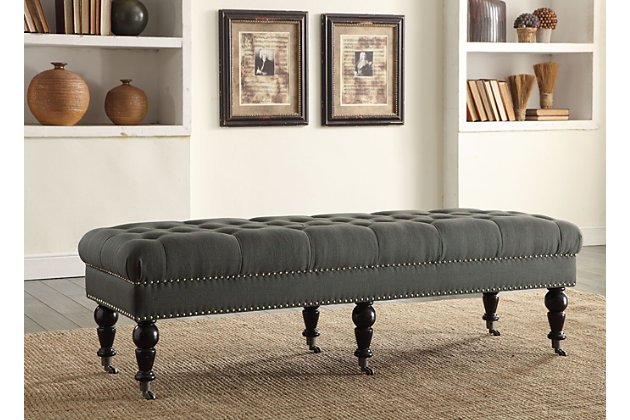 Isabelle Bed Bench, Dark Charcoal Gray, large