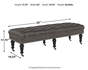 Isabelle Bed Bench, Gray, large